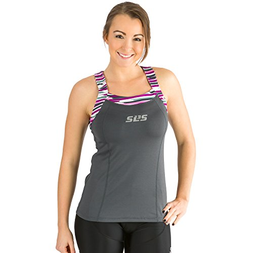 SLS3 Triathlon Women`s FRT Tri Top 1 Pocket Jersey - Singlet -Tank (Dark Gray, S) ()