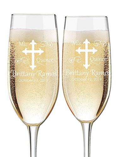 Custom Engraved Quinceanera Cotillion or Debutante Champagne Flutes - Cross Design - Choose Set of 2 or 16 - Laser Engraved with Name and Date (Set of 2)