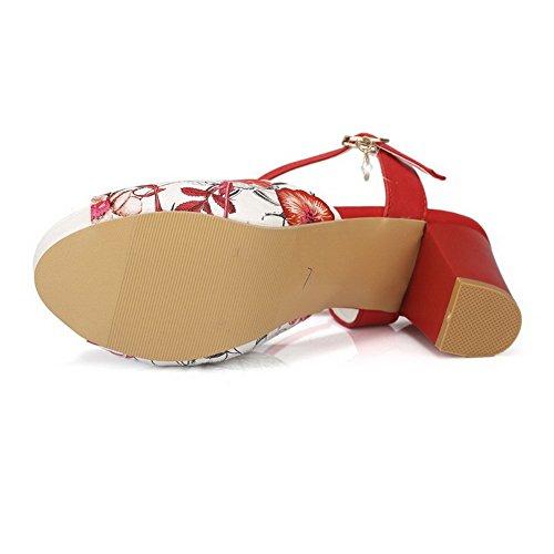 AllhqFashion Mujeres Cuero Peep Hebilla Tacón ancho Colores Surtidos Sandalia Rojo