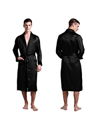 LILYSILK 100% Pure Silk Robe Men with Black Collar Pajamas Men