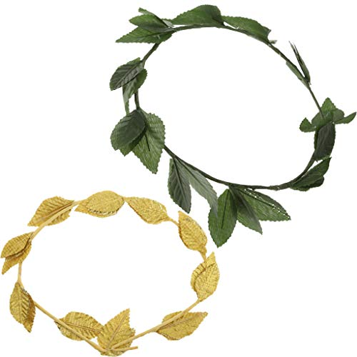 SM SunniMix Pack of 2 Pieces Plastic Green Fabric Gold Leaf Hairband, Greek Goddess Laurel Wreath, Fancy Dress Headband]()