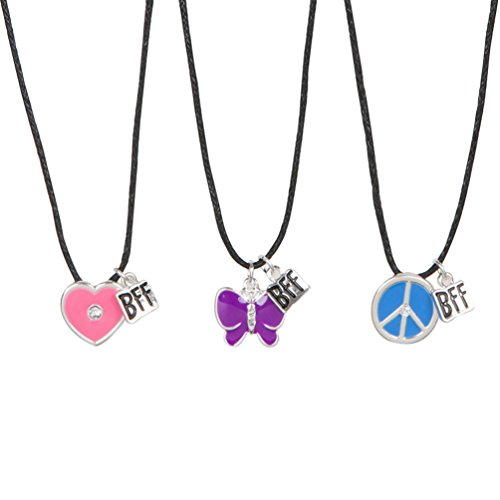Necklace Heart Peace Sign (Heirloom Finds BFF Best Friends Butterfly Peace Sign Heart 3 Necklace Set with Black Cords)