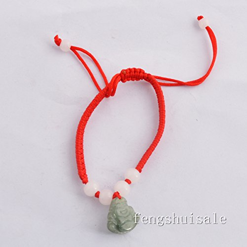 Feng Shui Kabbalah Red String Bracelet with Jade Laughing Buddha +Free Red String Bracelet ()
