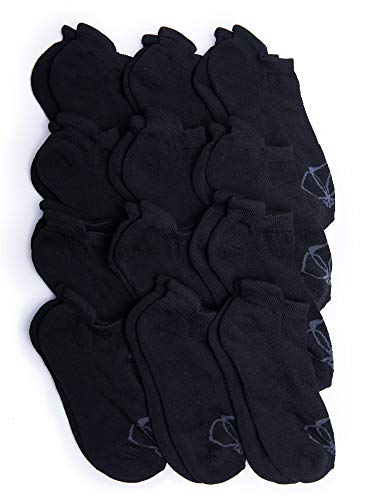 (Kalon 12 Pack Women's Low Cut Tab Socks (Medium 6-9.5, Black))