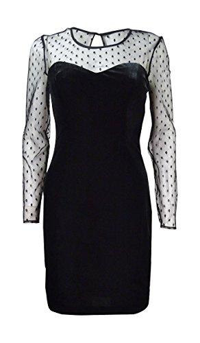 GUESS Women's Long Dress With Swiss Dot Sleeve Detail, Black, 4 (Swiss Dot Dress)