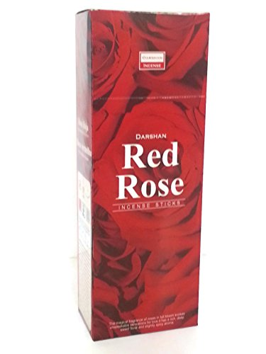 Incense Red Rose, 120 Sticks in a Six Pack Handmade in India From Darshan.