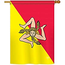 """Breeze Decor - Sicily Flags of The World - Everyday Impressions Decorative Vertical House Flag 28"""" x 40"""" (108181) Printed in USA"""