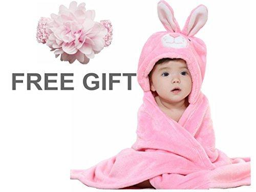 Baby Bath Blanket, Priors Baby Blanket Animal Cartoon Hooded Flannel Blanket (Pink Rabbit) by Priors
