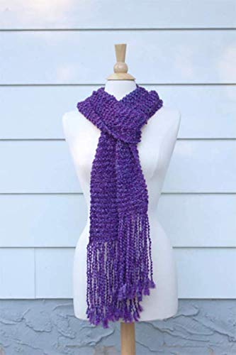 Royal purple hand knit scarf with long fringe