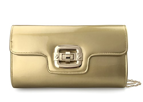 Gold Chain Evening Purse Patent Faux Glossy Twist Womens Clutch Locked Leather With Strap q7Fa8wX