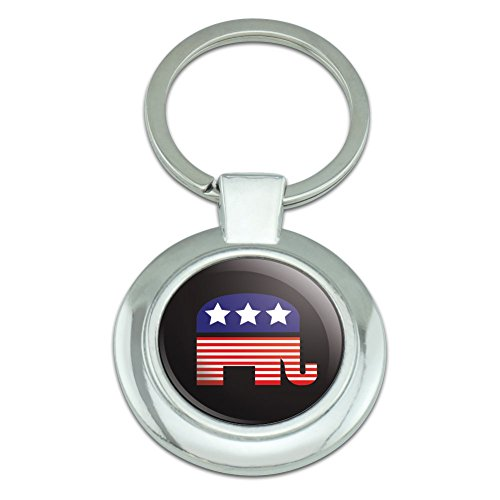 Key Ring Keychain Metal Chrome (Graphics and More Republican Elephant American Flag Classy Round Chrome Plated Metal Keychain)