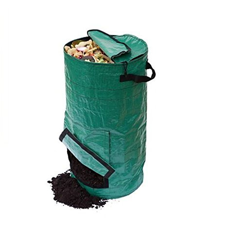 Aromzen 20L Gardening Lawn and Leaf Bags – Collapsible Canvas Portable Yard Waste Bag Compost Bin, Dark Green