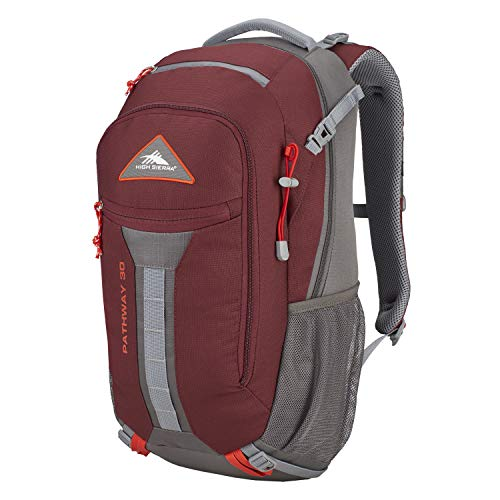 High Sierra Pathway Internal Frame Hiking Pack, 30L, Cranberry/Slate/Redrock