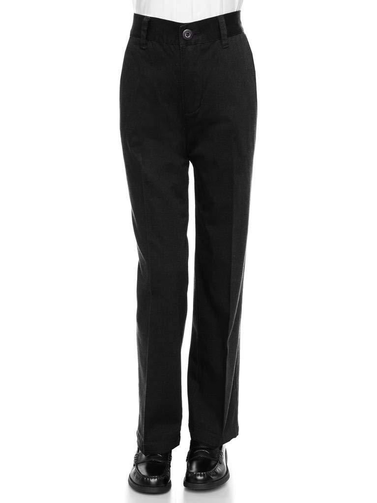 AKA Boys Wrinkle Free Flat-Front Back Elastic Straight-Leg Cotton Twill Pants Black 20 Husky