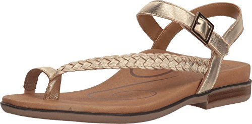 Aetrex Women Evie Toe Loop Sandal, Gold Leather ('37 M EU')