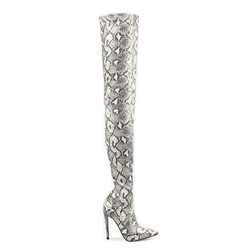 Thigh High Boots for Ladies Shoes Snakeskin Pointed Toe Super Thin High Heels Long Over The Knee Boots Bottine Femme US Size 8 Light Grey