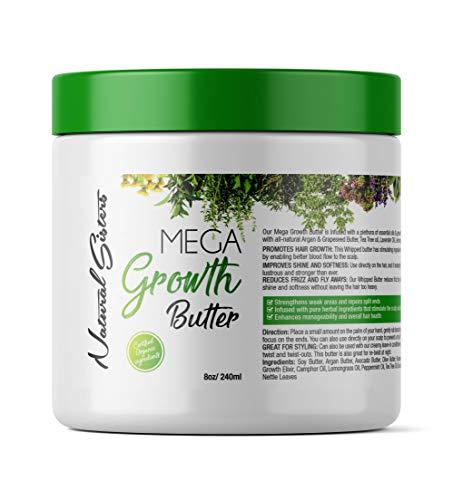 Mega Growth Hair Treatment Butter Jar -Hair Growth alopecia Formula - Scalp Treatment - With Horsetail, Nettle, Tea Tree, Rosemary & more