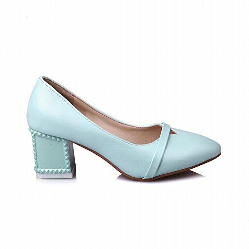 Latasa Womens Pointed-toe Chunky Heels Dress Pumps Light Blue Q99Q5atcEV