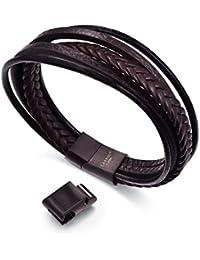 "<span class=""a-offscreen"">[Sponsored]</span>Mens Leather Bracelet for Men Fashion Cowhide Braided Multi-layer Wrap Wrist Cuff Bangle Black Brown"