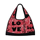Gym Bag Valentine's Day Background Women Yoga Canvas Duffel Bag Tennis Racket Tote Bags