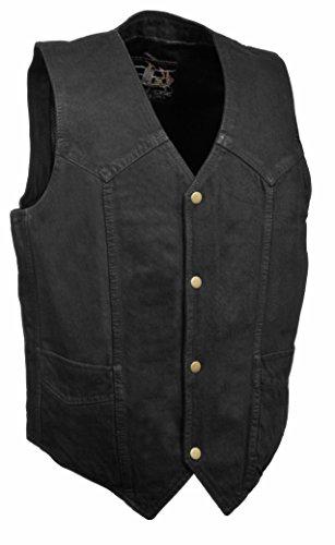 The Bikers Zone Men's 100% Cotton Basic Denim Vest XL (46) Black