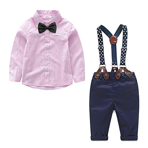 Yilaku Baby Boys Long Sleeve Shirt+Denim Overalls Outfit Suits Bow tie Infant Gentleman Pants Set (Pink, 18-24 ()
