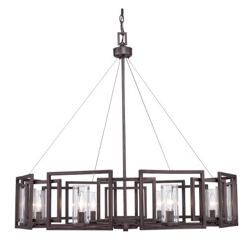 Golden Lighting 60688GMT Chandelier with Clear Glass Shades, Gunmetal Bronze Finish For Sale