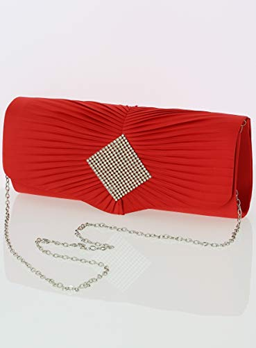 Boutique Et Pochette Soirée Rouge Strass Satin Femme magique r6XHZqr