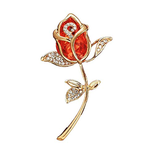 AILUOR Elegant Shining Crystal Rose Flower Brooch Pin, Fancy Beauty Floral Design Brooch Pins for Women Lady Bridal Wedding Corsage Bouquet Jewelry Christmas/Valentine's Gifts (Red)