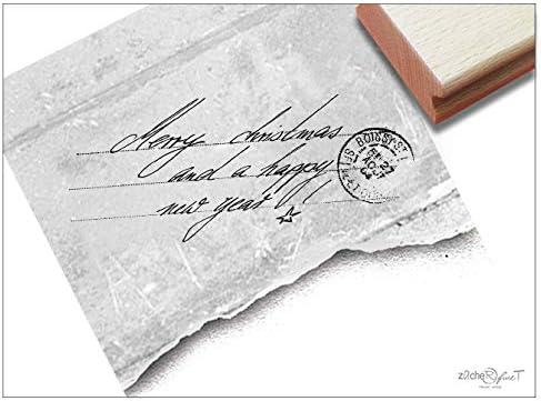 Sello – Sellos de Navidad – Merry Christmas And A Happy New Year. con Post – Sellos handschriftlicher sello de texto – de enmarcado de finet: Amazon.es: Hogar
