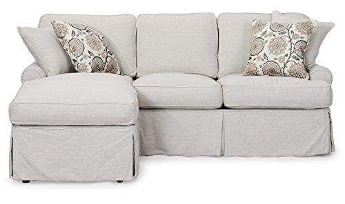 Sunset Trading Horizon Slipcovered Sleeper Sofa and Chaise, Light Gray - Slipcovered Sofa Set
