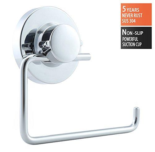 BRIOFOX Toilet Paper Holder Suction Cup Toilet Paper Dispenser 304 Stainless Steel Toilet Tissue Holder Chrome