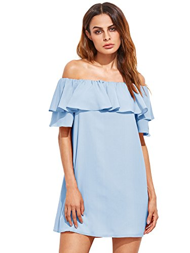Blue Ruffles Sundress - Milumia Women's Off Shoulder Ruffles Shift Loose Mini Dress (X-Large, Light Blue)