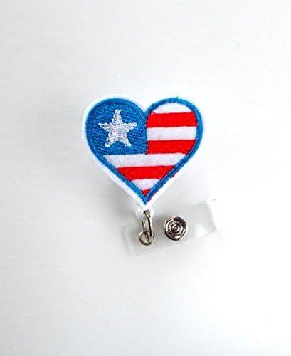 Badge Reel Medical Badge Reel Medical Badge Reel Nurse Badge Patriotic Heart Badge Reel RN Badge Reel Fourth of july Badge Reel