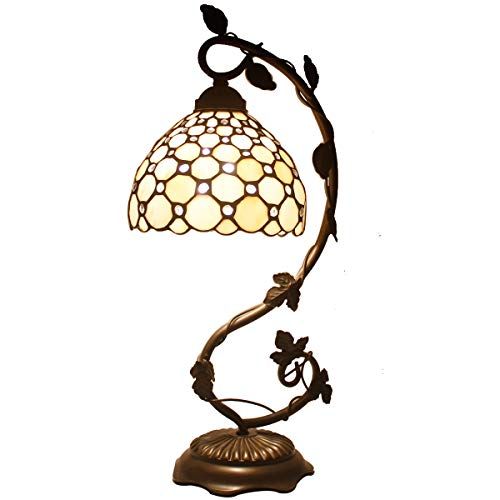 - Tiffany Lamp Cream Stained Glass and Crystal Pearl Bead Style Table Lamps Wide 8 Inch Height 22 Inch for Living Room Antique Desk Beside Bedroom Set S005 WERFACTORY