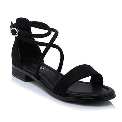 Viajes Summer Las Zapatos Para Flat Flats De Sandalias Señoras Casuales De Negro Roman Vacaciones Cross Straps WY7WUw5q