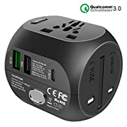 UPPEL Travel Adapter Universal Power Adapter with QC3.0+USB+Type-C Charging Ports Used in UK US EU AU Asia AE 200…
