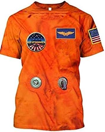 Estilo Astronauta Naranja Camiseta Summer 3D Graphic Camisetas De Manga Corta para Hombres Mujeres Funny Couple Pullover Tees: Amazon.es: Ropa y accesorios