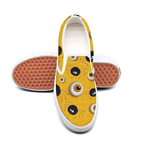 Halloween spider and eyes yellow Classic Women Canvas Slip-On Shoes Sneaker ()