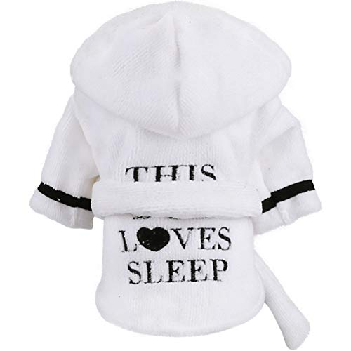 Stock Show Pet Pajama with Hood Thickened Luxury Soft Cotton Hooded Bathrobe Quick Drying and Super Absorbent Dog Bath Towel Soft Pet Nightwear for Puppy Small Dogs Cats, White, S]()