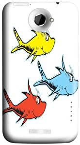 Designer Htc One X Case Hard Cover One Dr Seuss Fish Two Fish Red Fish