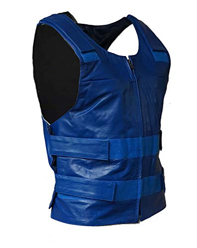 IKleather Mens Bullet Proof style Leather Motorcycle Vest for bikers Club Tactical Vest (3XL, Blue)
