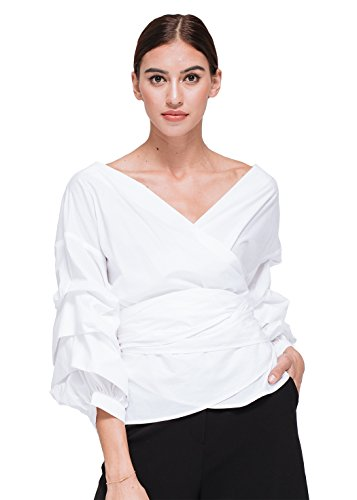 Pleione Ruched 3/4 Sleeve Wrap Tie Front Shirt Blouse White (Cotton Ruffle Wrap Top)