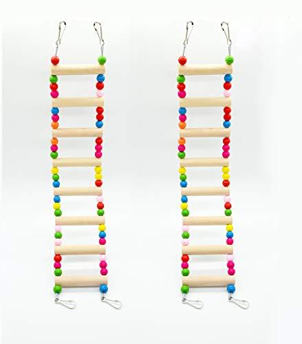 Hatisan Pet Bird Parrot Toy, Wooden Ladder Bridge Swings Hanging Ladders Toy for Pet Trainning (2Pcs, 3-Wooden beads) by Hatisan