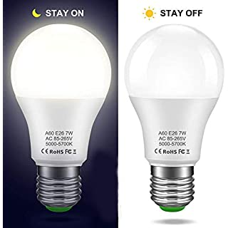 LEDERA Dusk to Dawn Light Bulb, E26 Sensor Lights Bulb, A19 7W Automatic LED Bulbs Indoor/Outdoor Lighting Bulb for Porch Front Door Garage Basement (5000k Daylight White, 2 Pack)