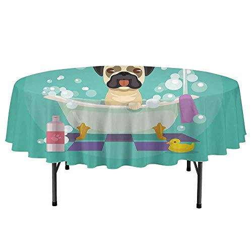 Douglas Hill Nursery Leakproof Polyester Round Tablecloth Pug Dog in Bathtub Grooming Salon Service Shampoo Rubber Duck Pets in Cartoon Style Image Outdoor and Indoor use D55 Inch Teal