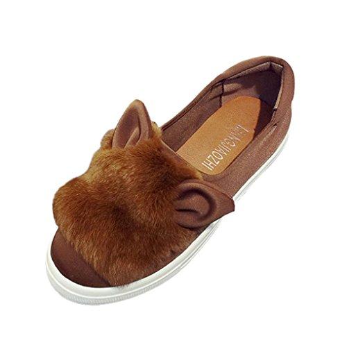 Deesee (tm) Cute Warm Mujeres Flats Zapatos Snow Mujer Otoño Invierno Zapatos Khaki