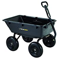 Gorilla Carts GOR6PS Heavy-Duty Poly Yard Dump Cart with 2-in-1 Convertible Handle, 1,200-Pound Capacity, Black Updated