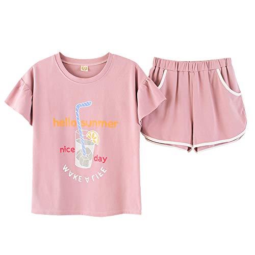 Hupohoi Big Girls' Summer Pajama Sets Cute Lemon Juice Sleepwear Size 12 14 16 18
