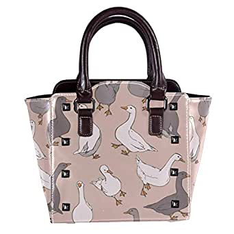 Leather Handbags Tote Satchel Purse with Shoulder Strap for Women Girls Ladies with Flock Of Gray And White Geese
